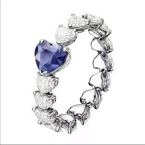 New Women's925 Silver Sapphire Romantic Heart Ring